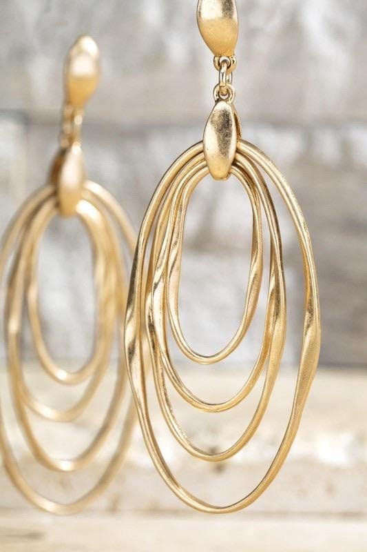Layered Metals Dangle Earrings - Sublime Clothing Boutique