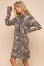Load image into Gallery viewer, At Attention Cowl Camo Dress