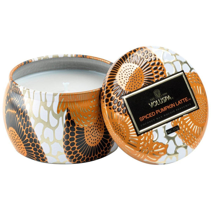 Voluspa Spiced Pumpkin Latte Petite Tin Candle - Sublime Clothing Boutique