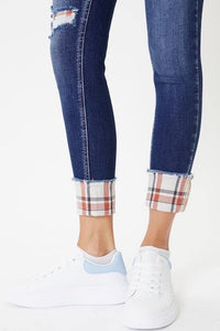 Pieper Plaid Mid Rise Denim