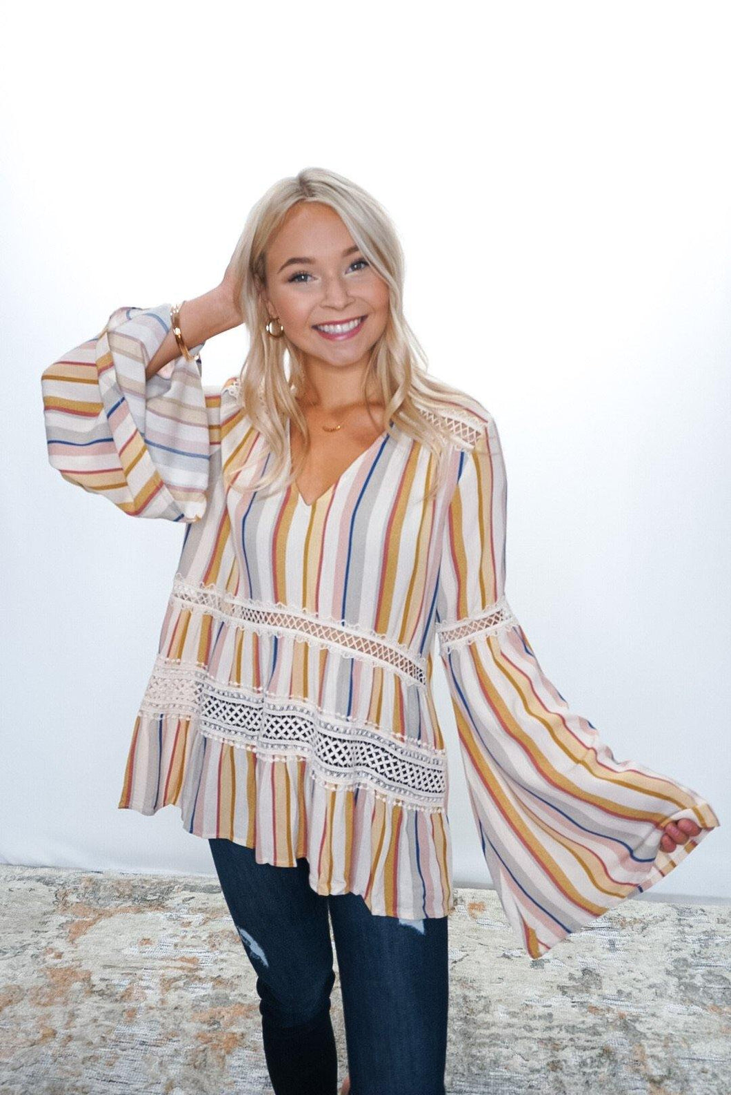 Make It Flirty Bell Sleeve Blouse