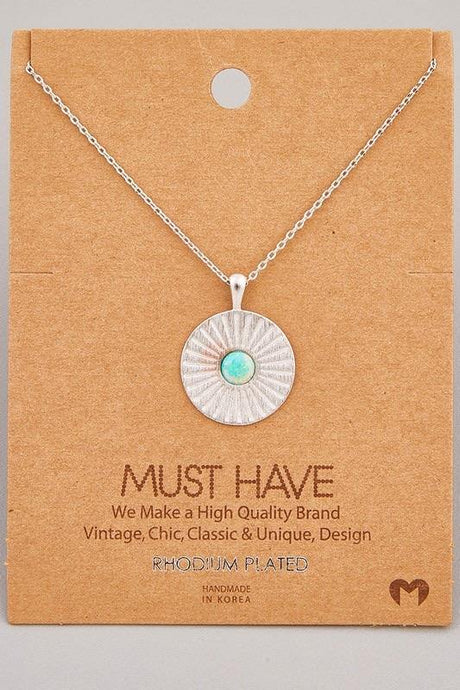 Opal Stud Circle Pendant Necklace