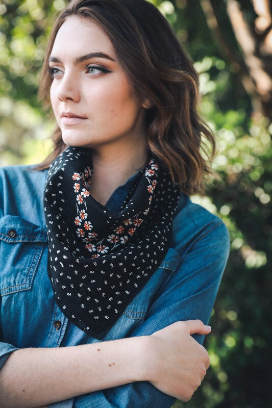 Dark Floral Bandana - Sublime Clothing Boutique