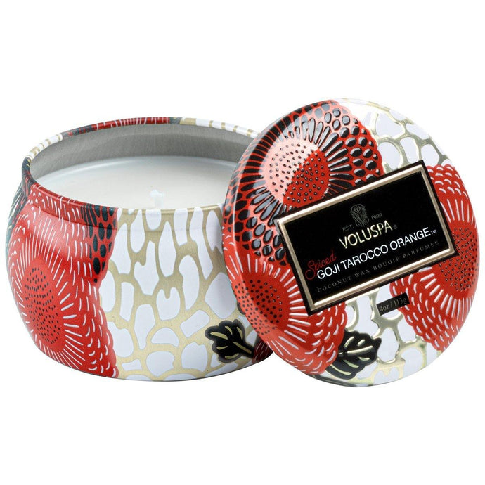 Voluspa Spiced Goji Tarocco Orange Petite Tin Candle - Sublime Clothing Boutique