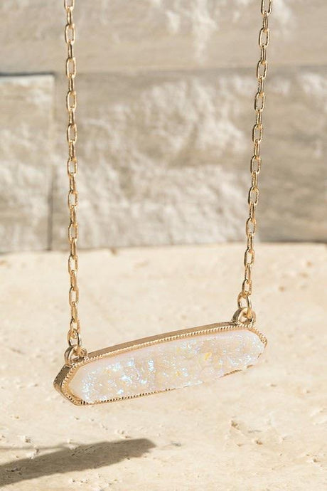 Faux Druzy Bar Shaped Pendant Necklace