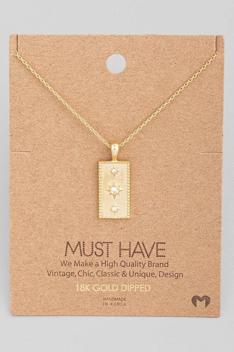 Star Rectangle Pendant Necklace