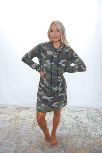 At Attention Cowl Camo Dress