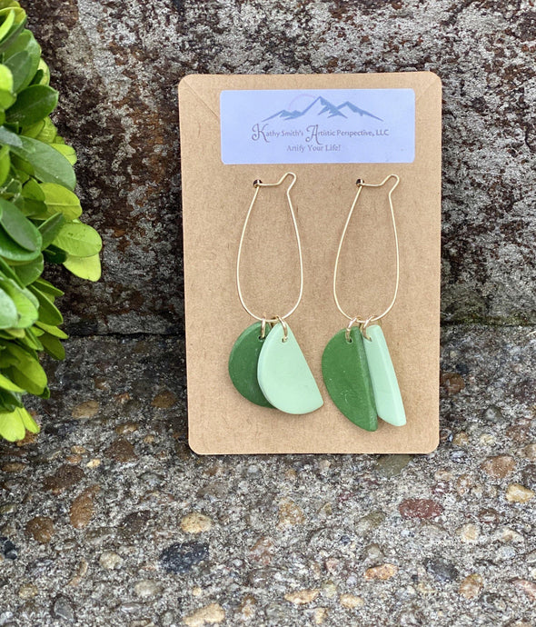 Shades Of Green Drop Clay Earring