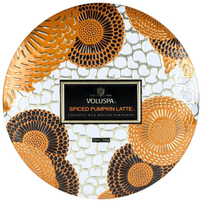 Voluspa Spiced Pumpkin Latte 3 Wick Tin Candle - Sublime Clothing Boutique
