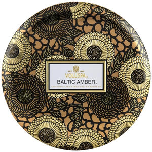 Voluspa Baltic Amber 3 Wick Tin - Sublime Clothing Boutique