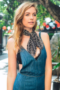 Geometric Onyx Satin Scarf - Sublime Clothing Boutique