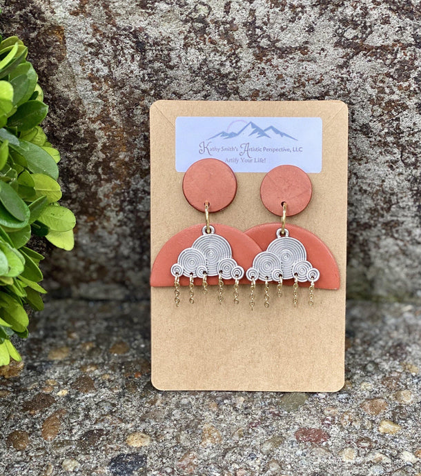 Terra Cotta Clouds Clay Earring