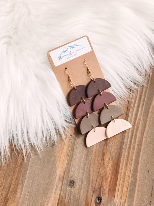 Shades Of Burgundy Clay Earrings - Sublime Clothing Boutique