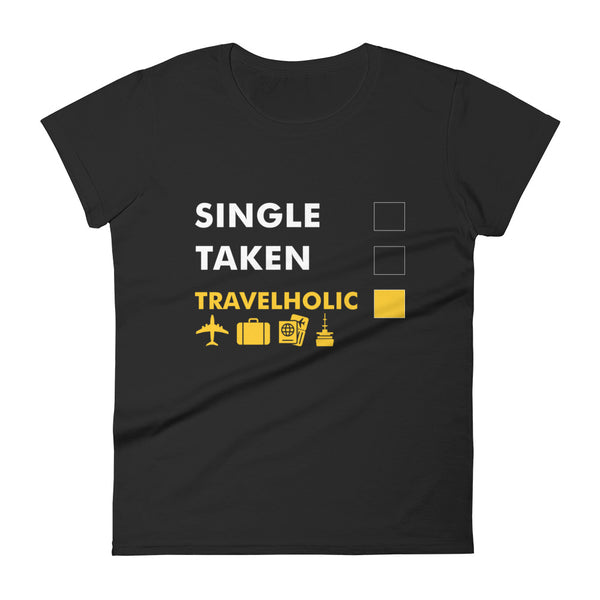 'Travelholic'  Fitted Tee