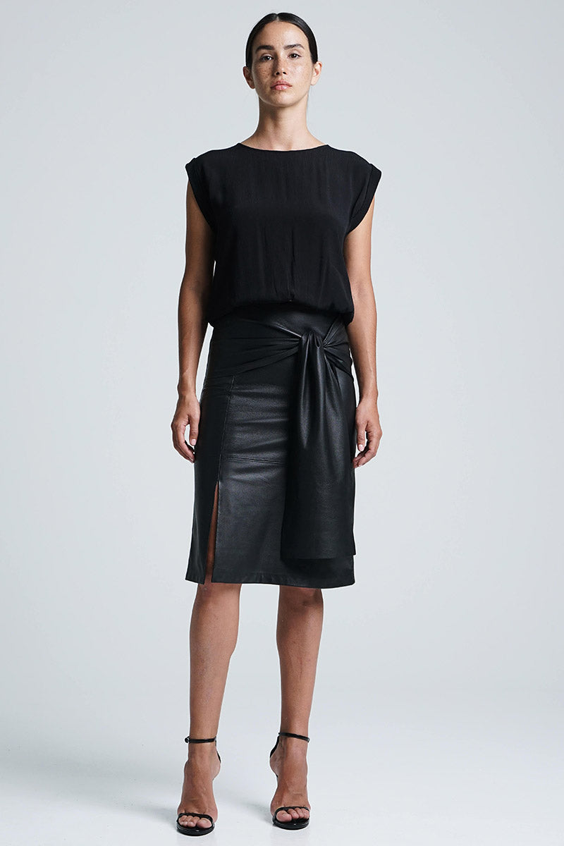 Bella Bow Midi Skirt Black