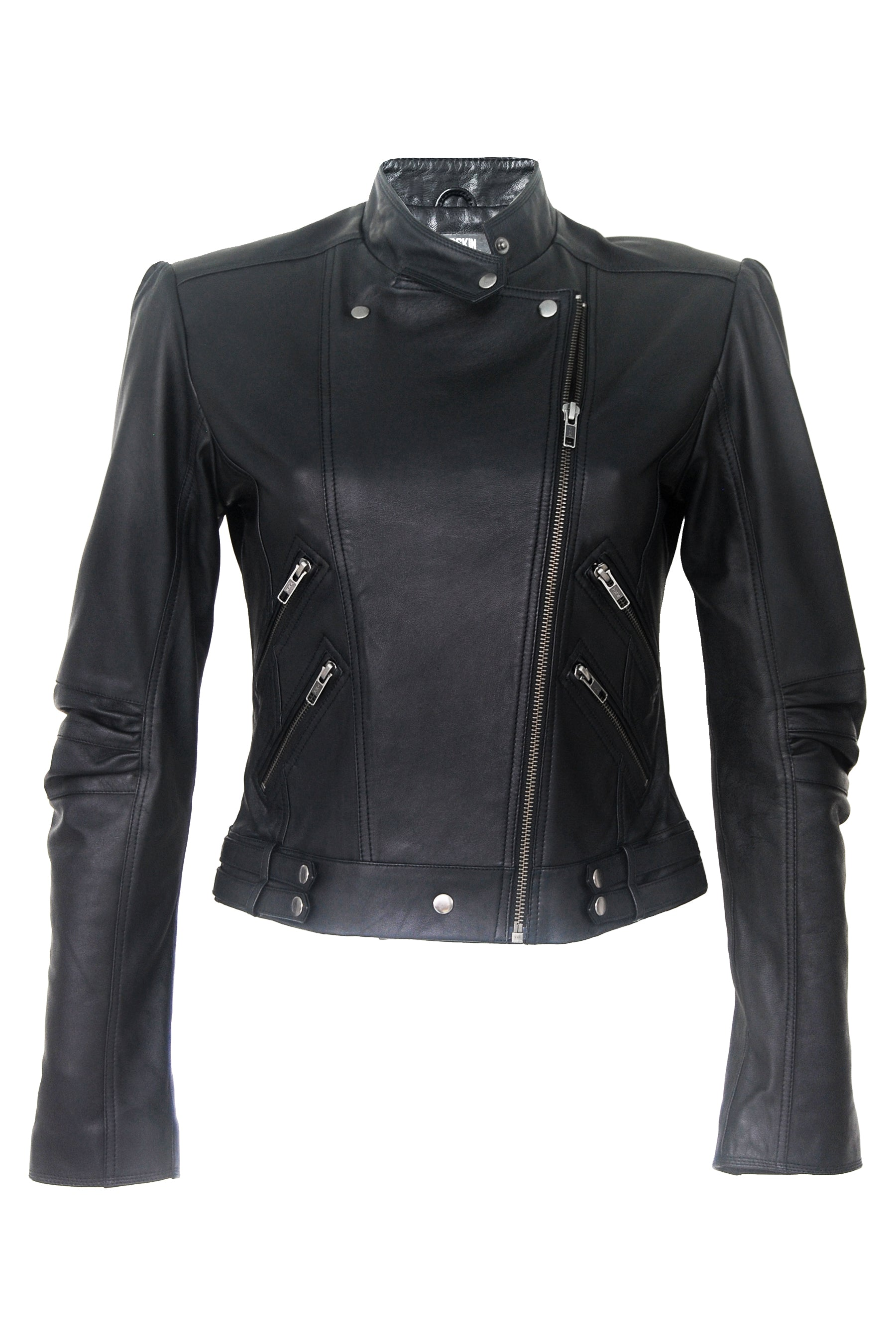 Imogen Biker Jacket Black Gun Metal