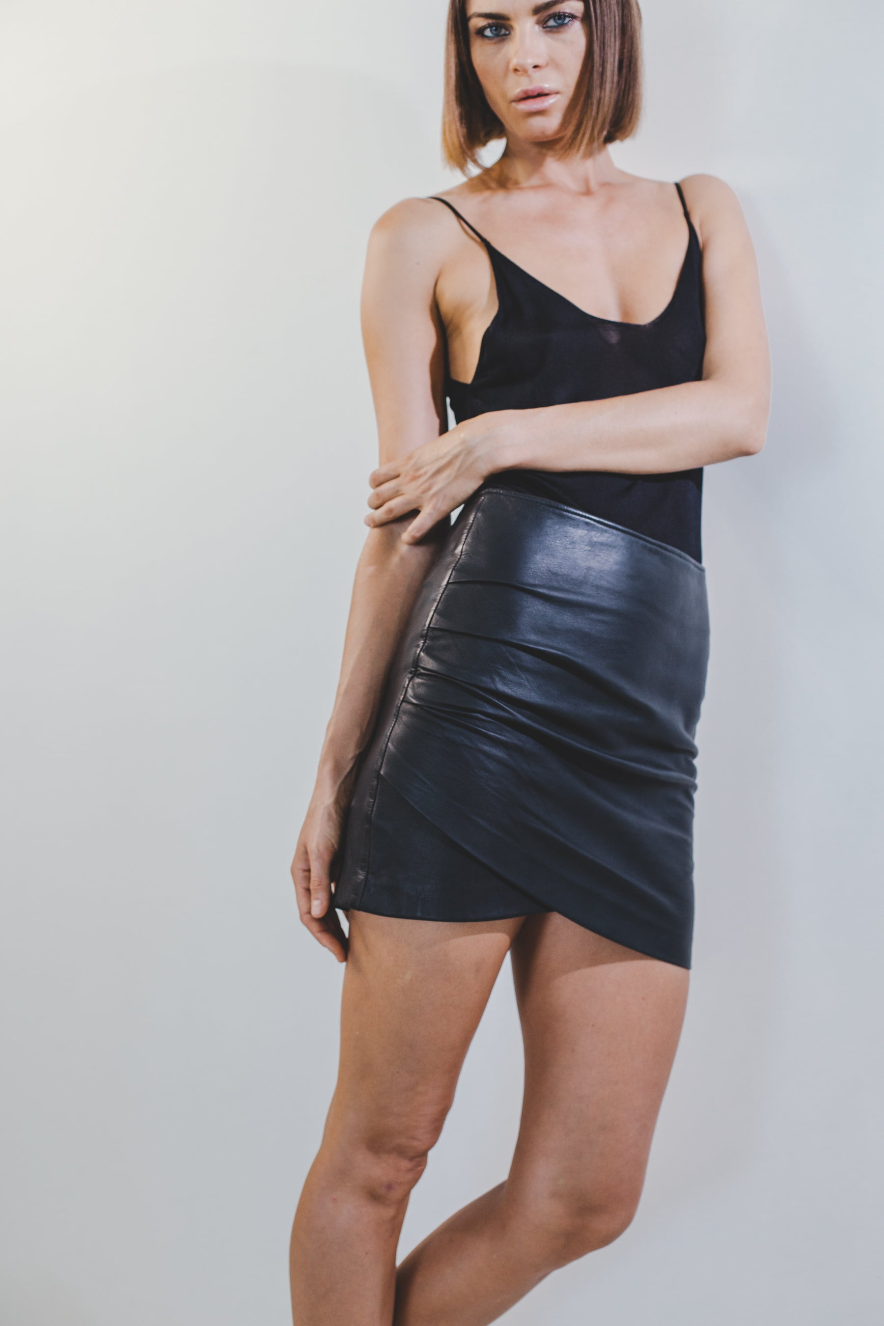 Ivy Wrap Mini Skirt Black