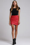 Ivy Wrap Mini Skirt Crimson Red