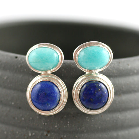 Aqua Blue Chalcedony and Lapis Lazuli silver Earrings