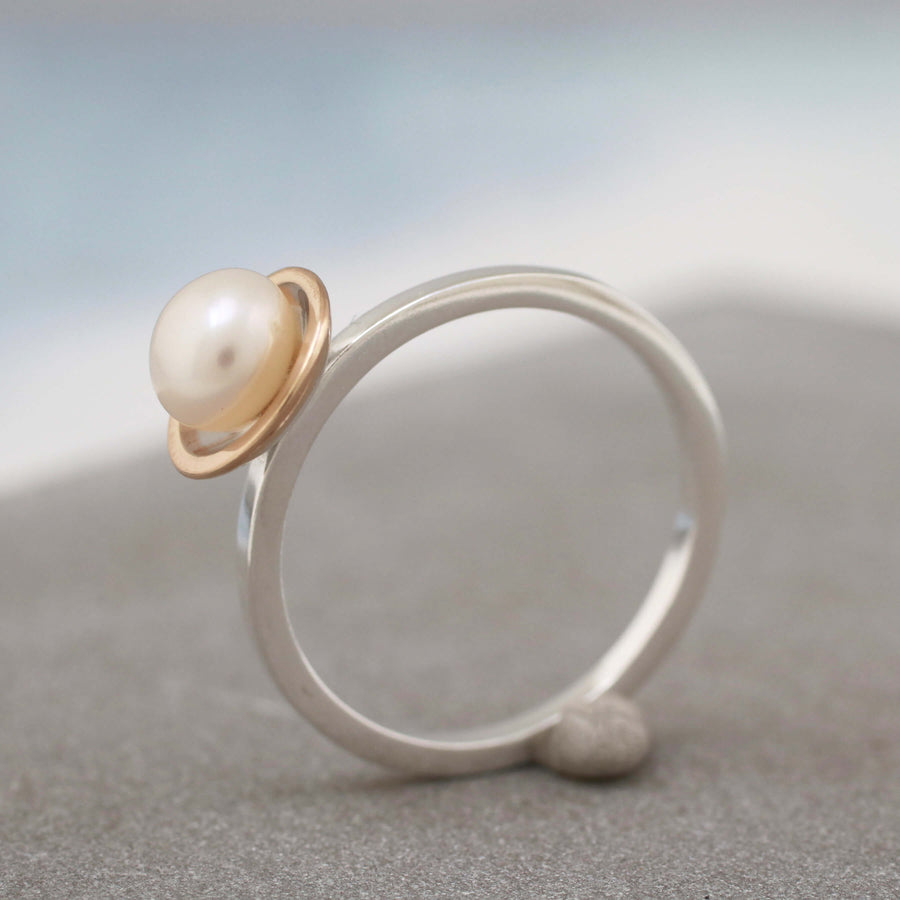 Silver and 9ct Gold Pearl Ring. Dainty Stacking Rings