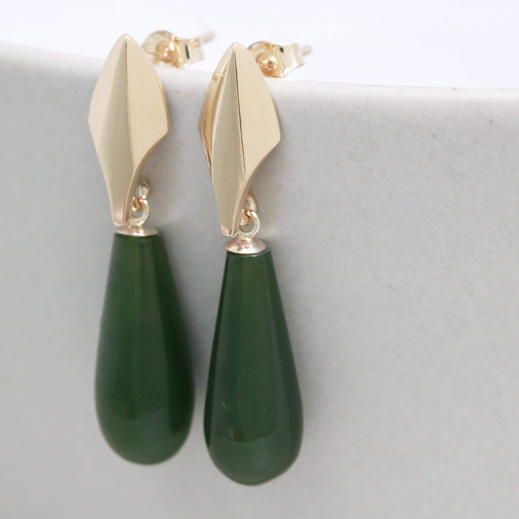 9ct Gold Deco Dropper Earrings with Nephrite