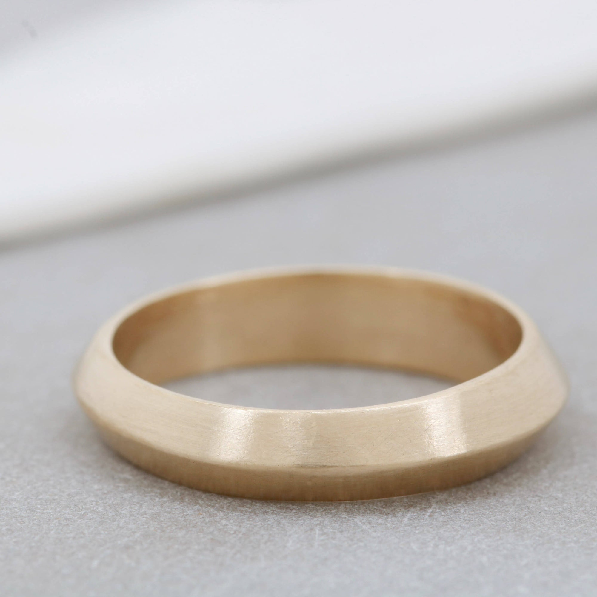 9ct Gold Ring -  Hand Carved Thick Band