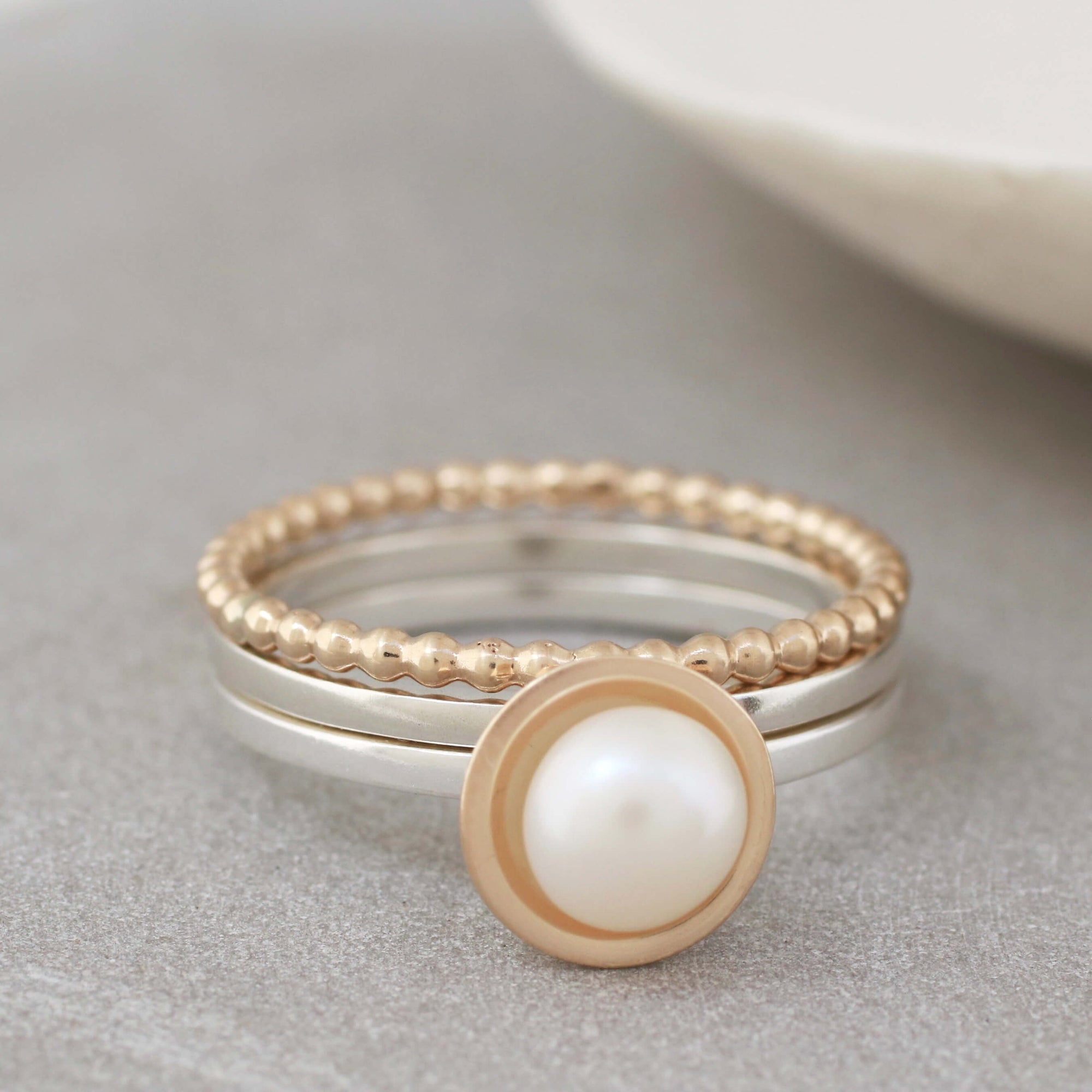 Silver And 9ct Gold Pearl Stacking Ring Set