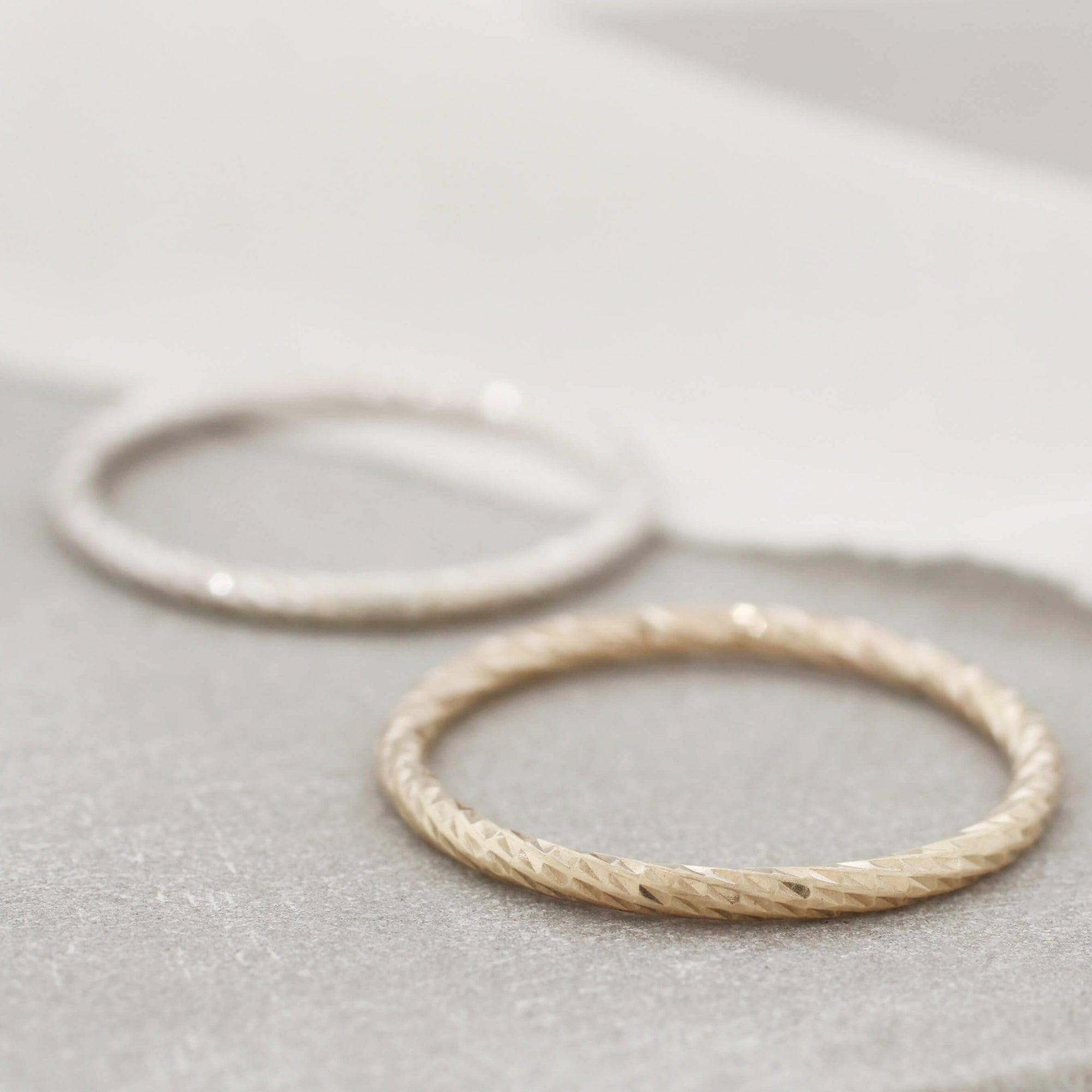 Faceted Band Rings. 9ct Gold Stackable Ring