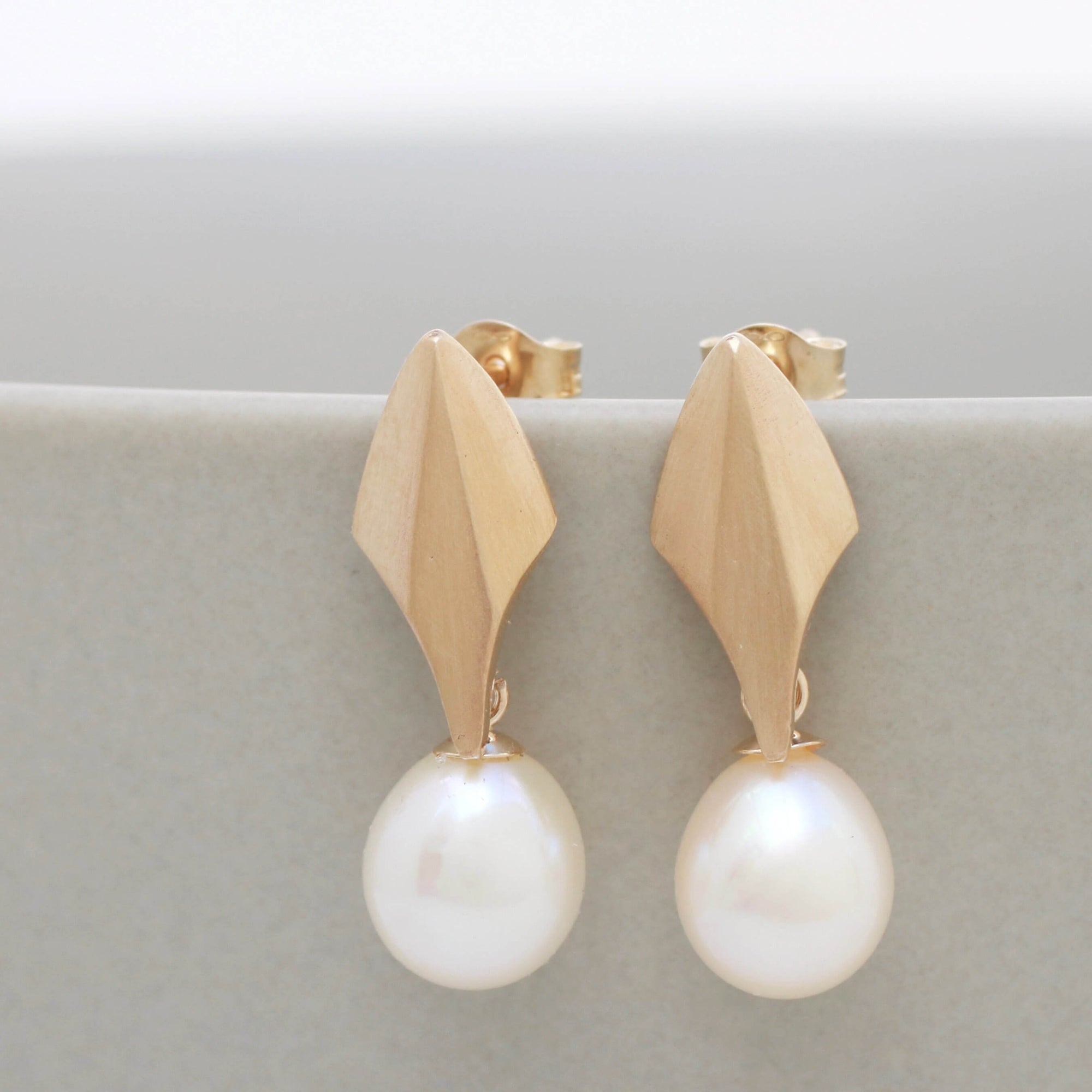 9ct Gold Deco Dropper Earrings With Pearls