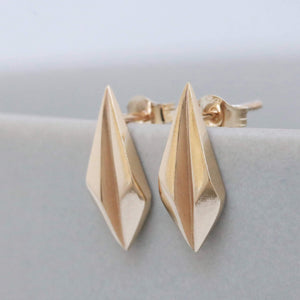 Faceted gold earrings