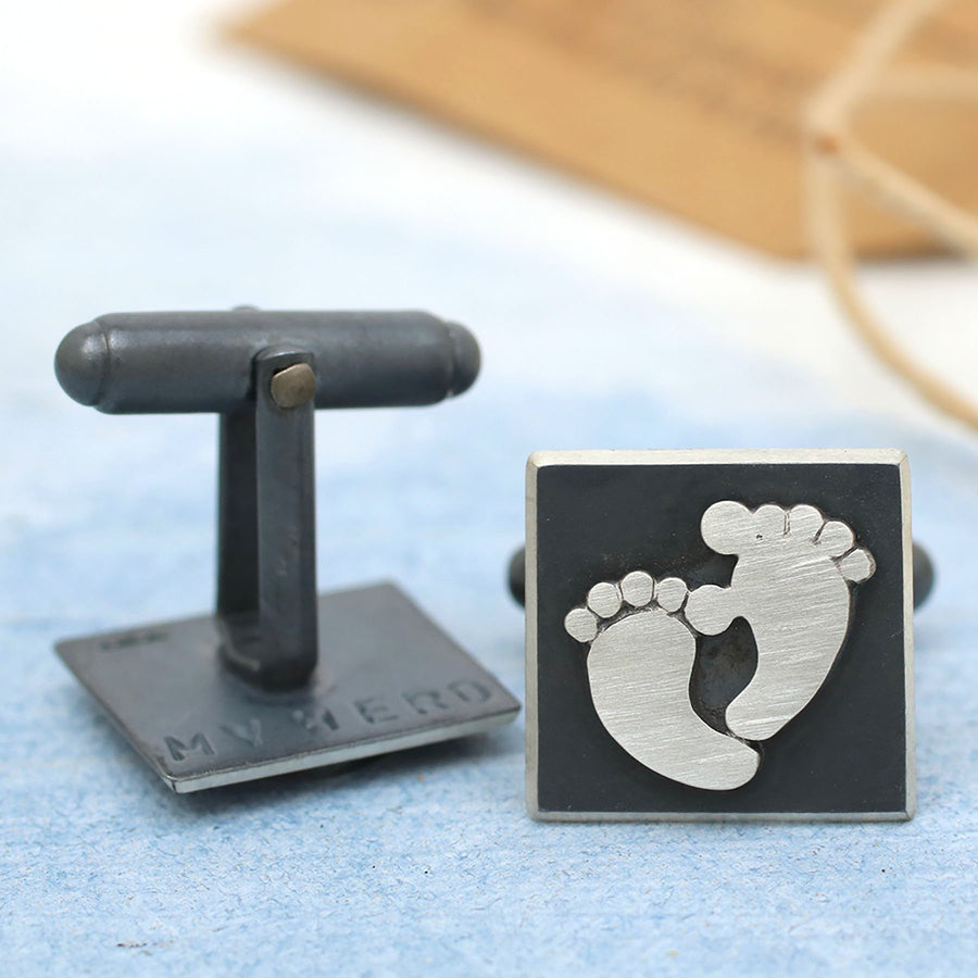 Fathers Day Cufflinks Oxidised Foot Prints
