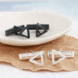 Geometric Triangle Silver Cufflinks