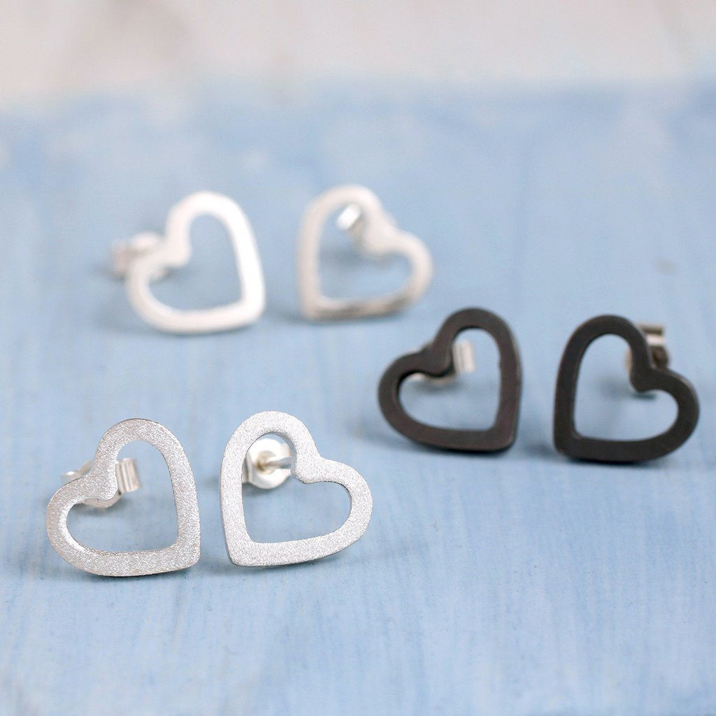 Sterling Silver Geometric Heart Earrings