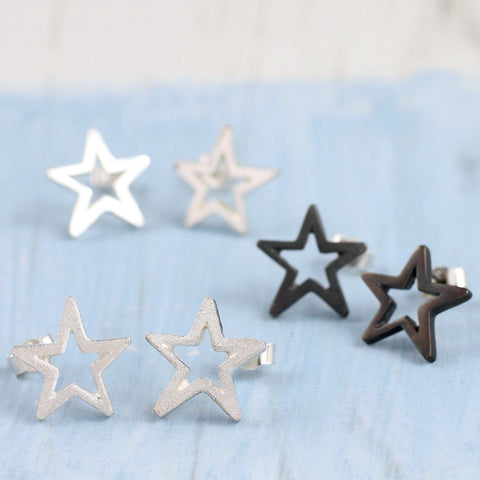 Sterling Silver Geometric Star Earrings