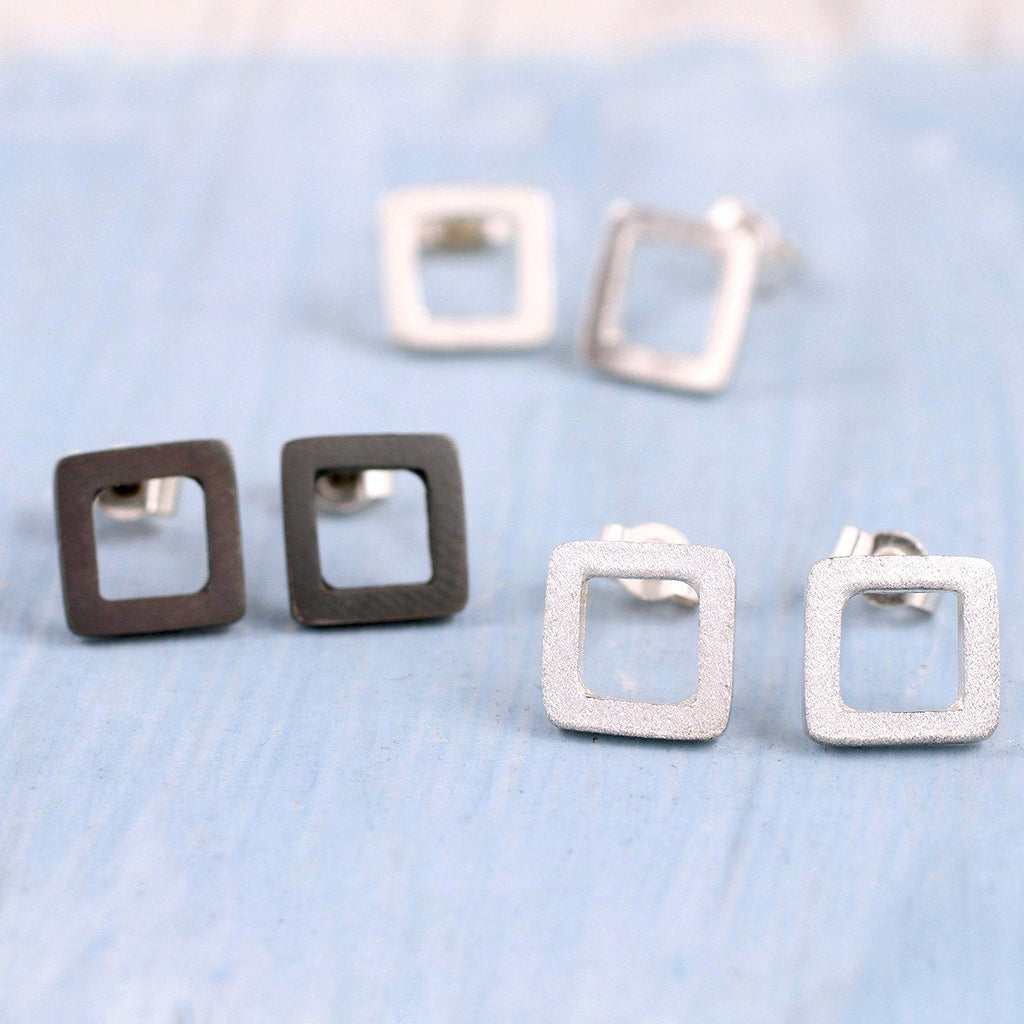 Sterling Silver Geometric Square Earrings