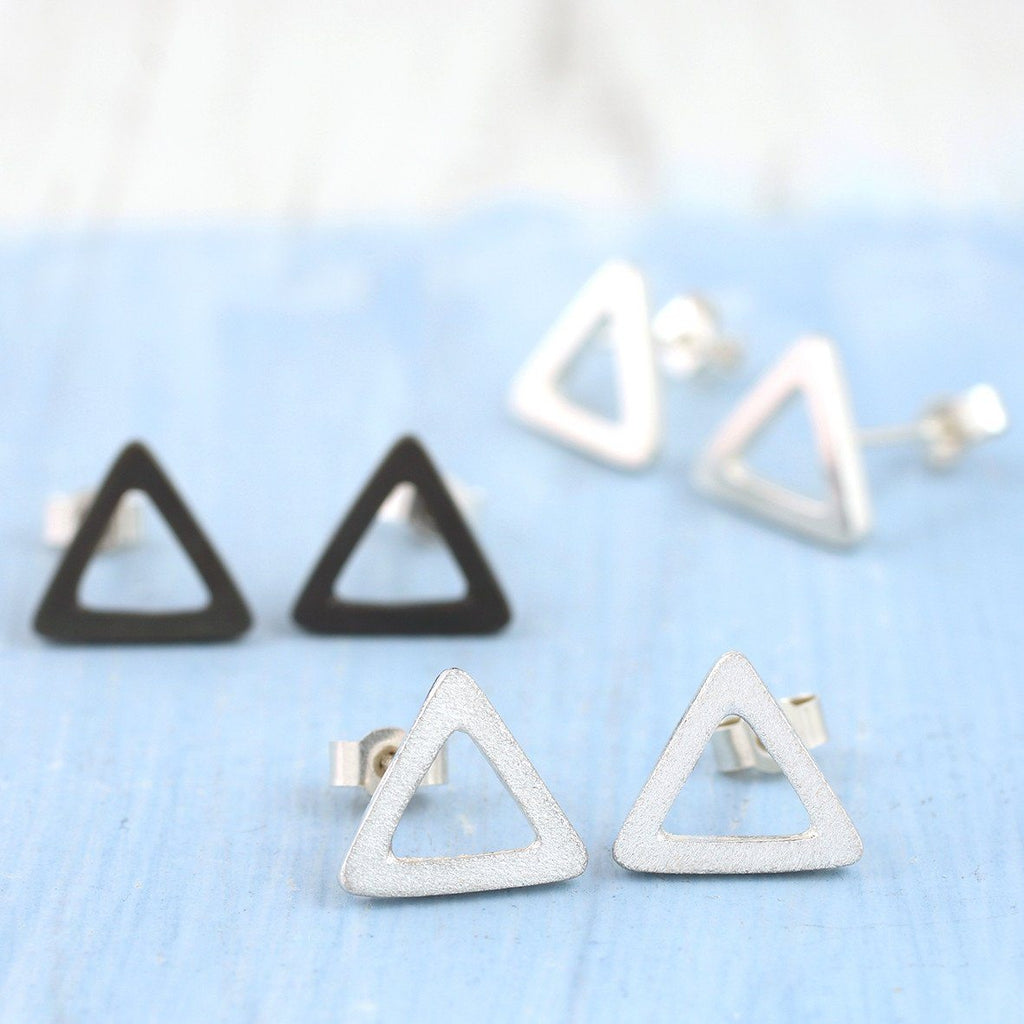 Sterling Silver Geometric Triangle Earrings