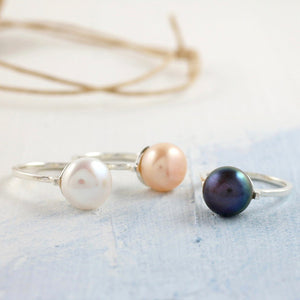 coloured pearl ring