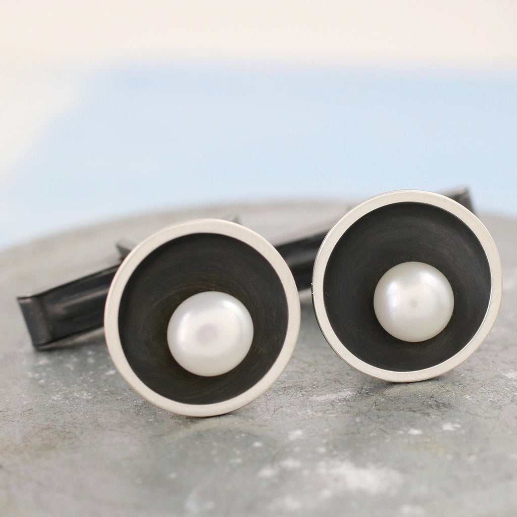 Art Deco Silver And Black Pearl Cufflinks