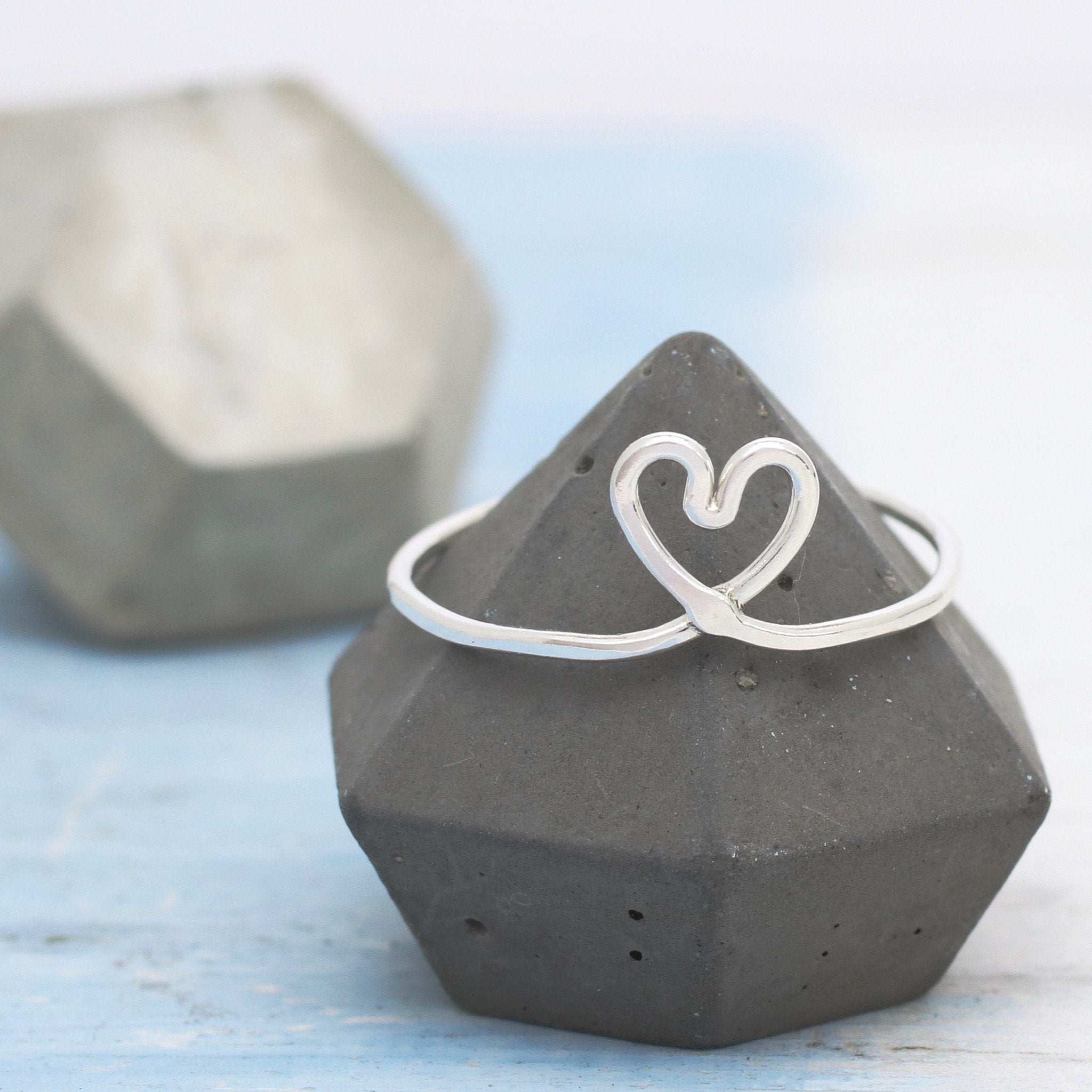 Silver Love Heart Knot Ring