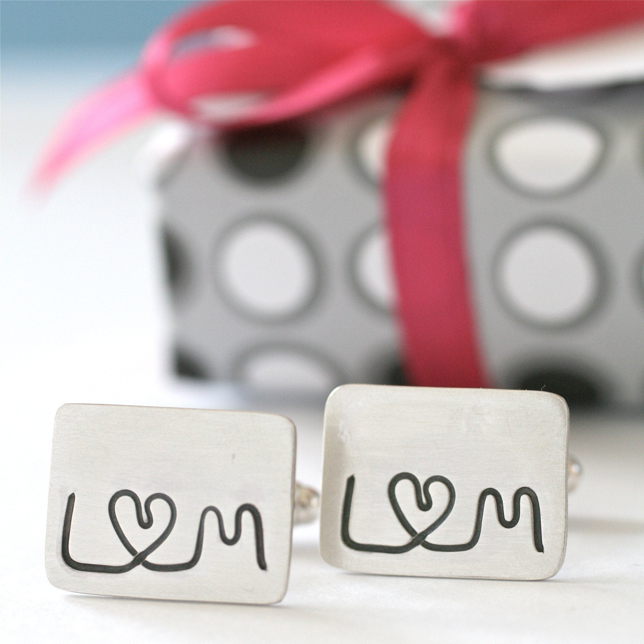 Personalised Silver I Love You Cufflinks