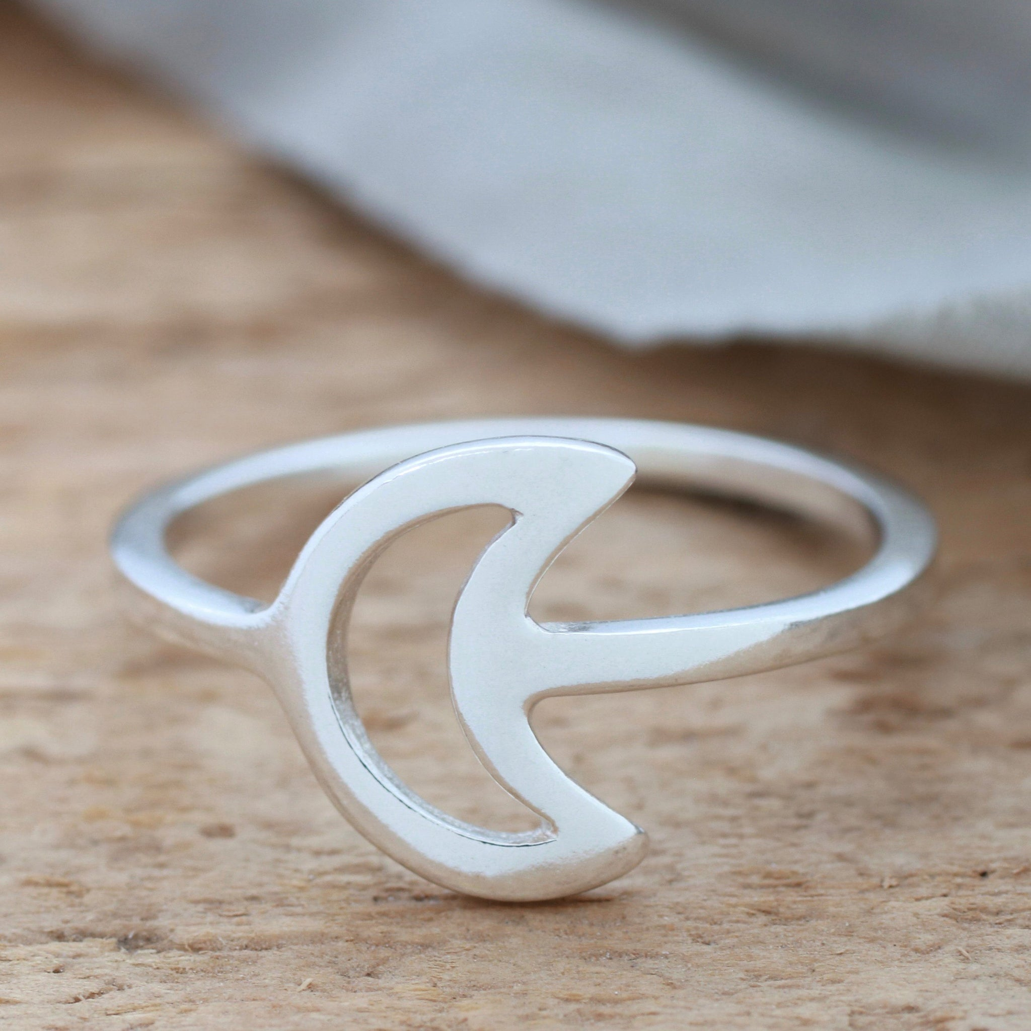 Silver Crescent Moon Ring. Celestial Ring