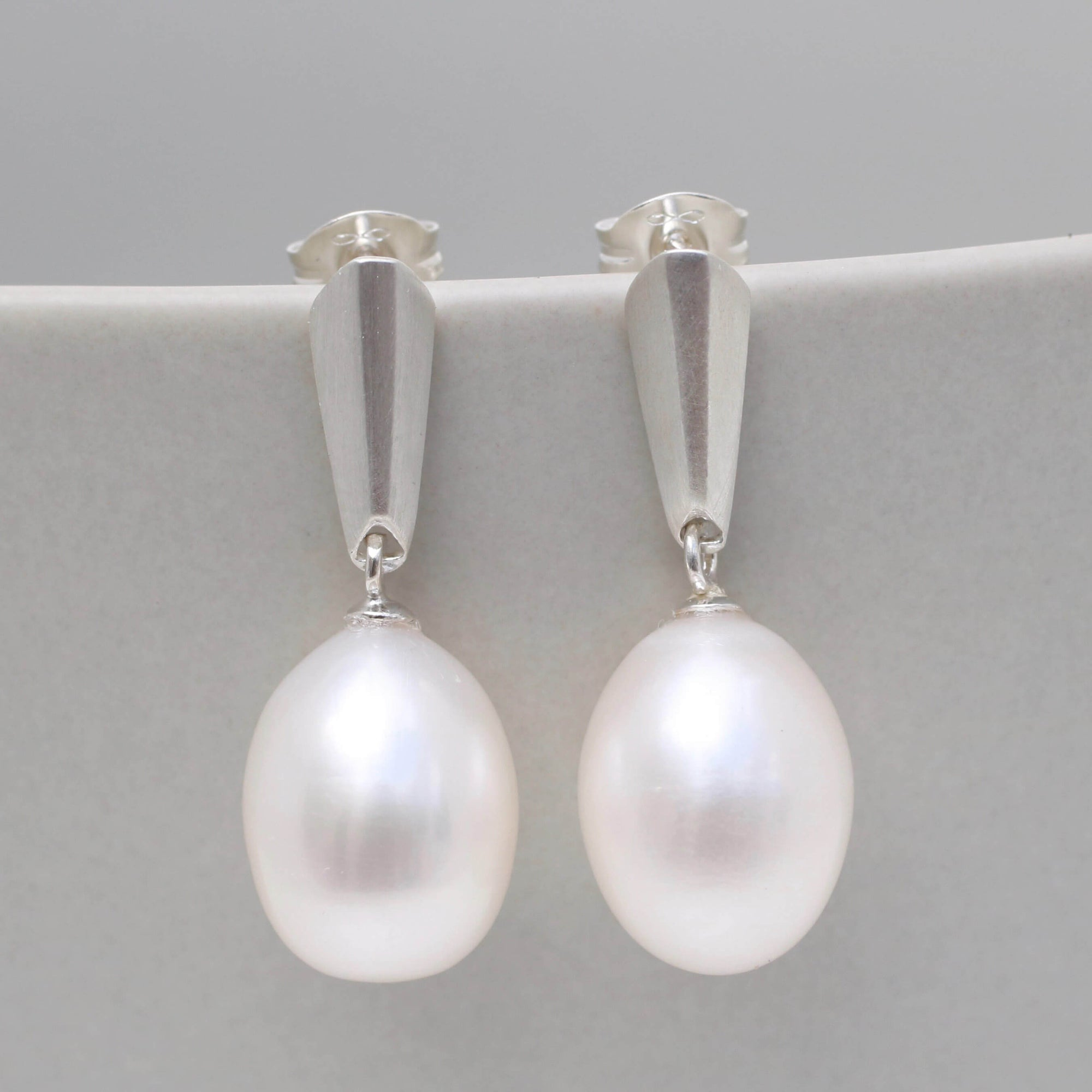 Silver Pearl Dropper Earrings