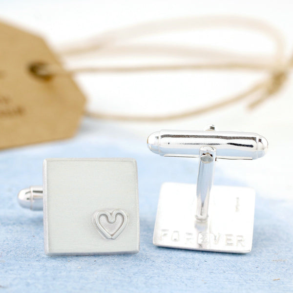Personalised Secret Message Silver Heart Cufflinks