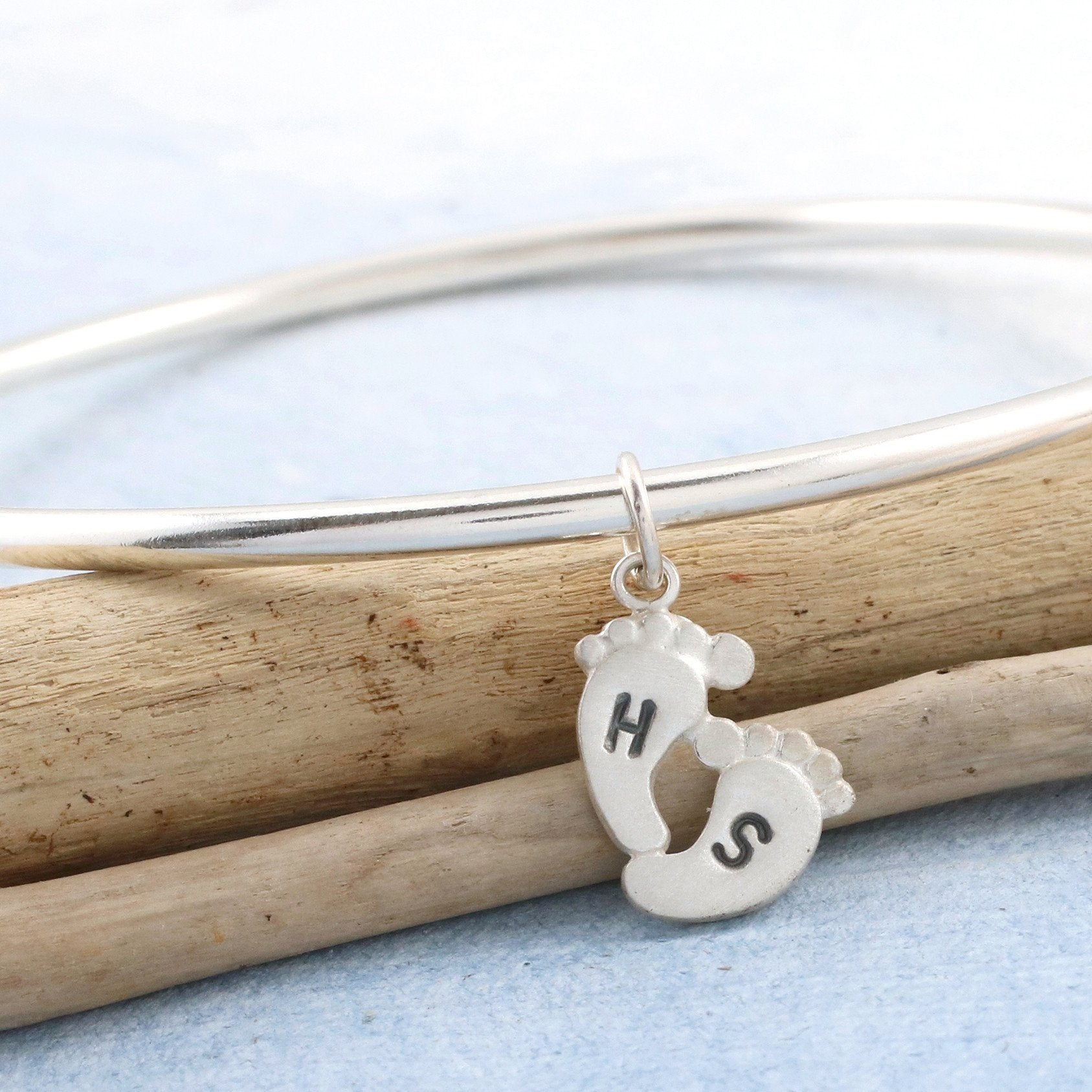 Personalised New Mum Bangle. Baby Feet Charm Bracelet