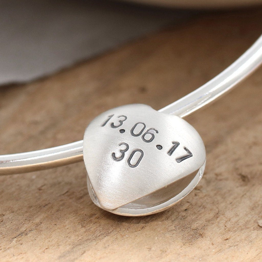 Personalised Silver Heart Keepsake Bangle