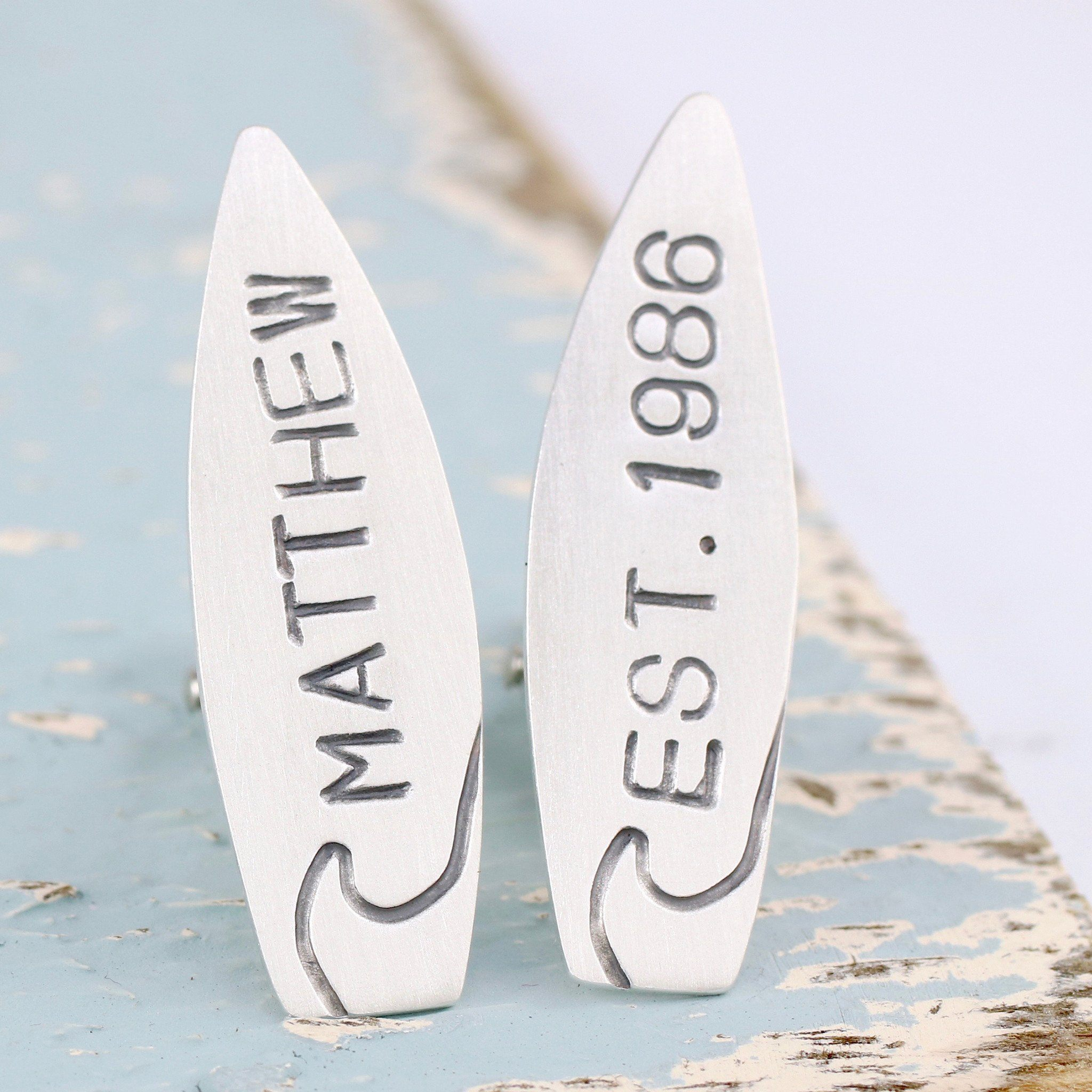 Personalised Silver Surfboard Cufflinks