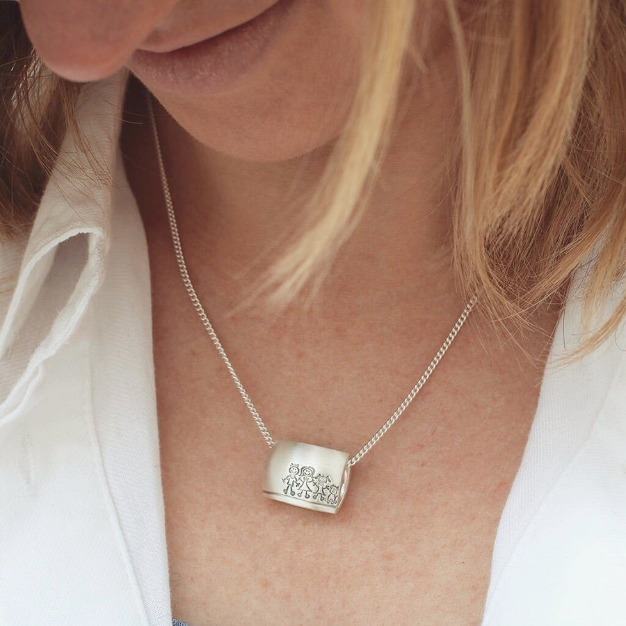 Personalised 'My Family' Portrait Silver Necklace
