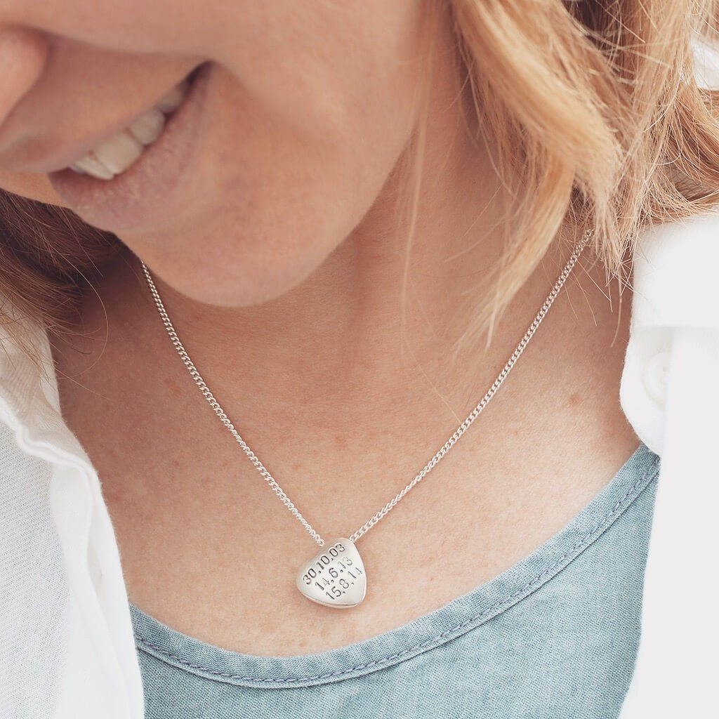 Personalise silver heart pendant necklace