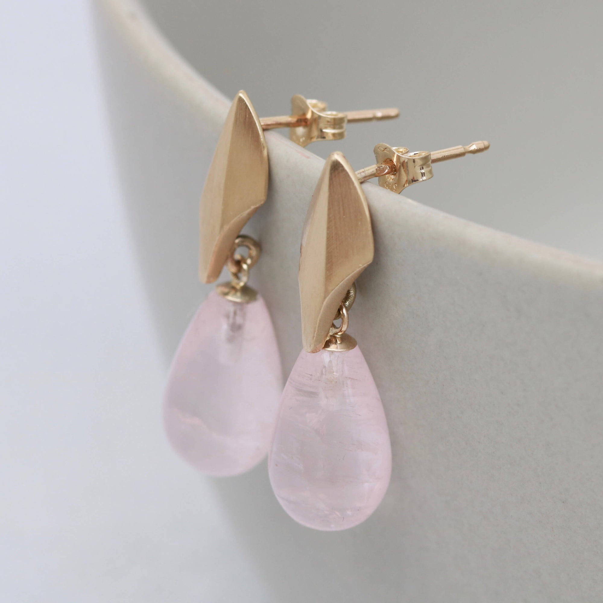 9ct Gold Deco Dropper Earrings with Rose Gold