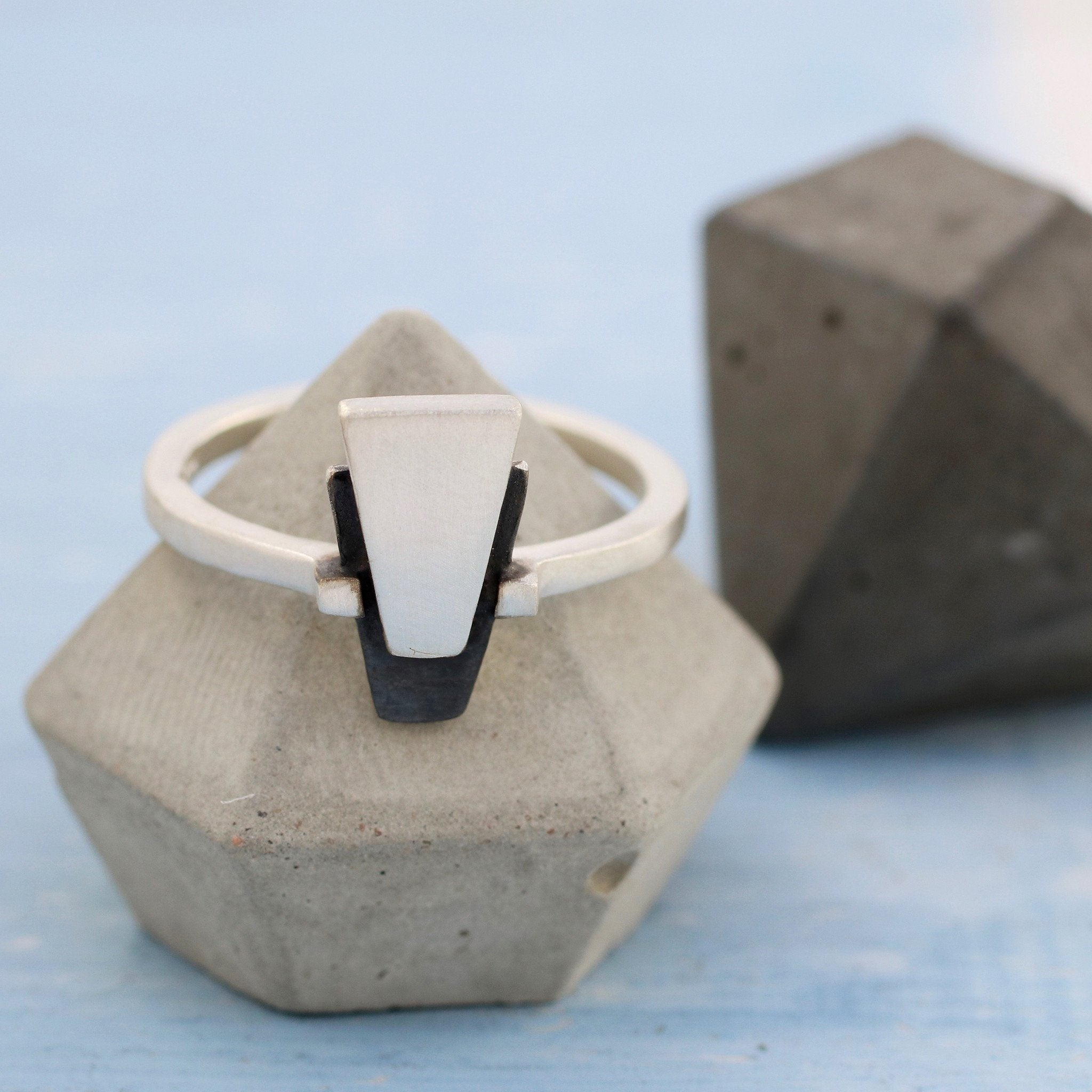 geometric diamond triangle ring